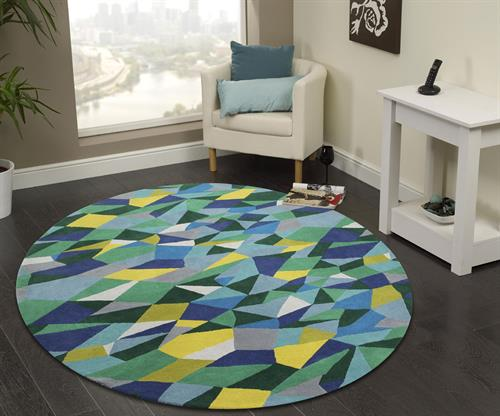 Geometric multi colour circle rug